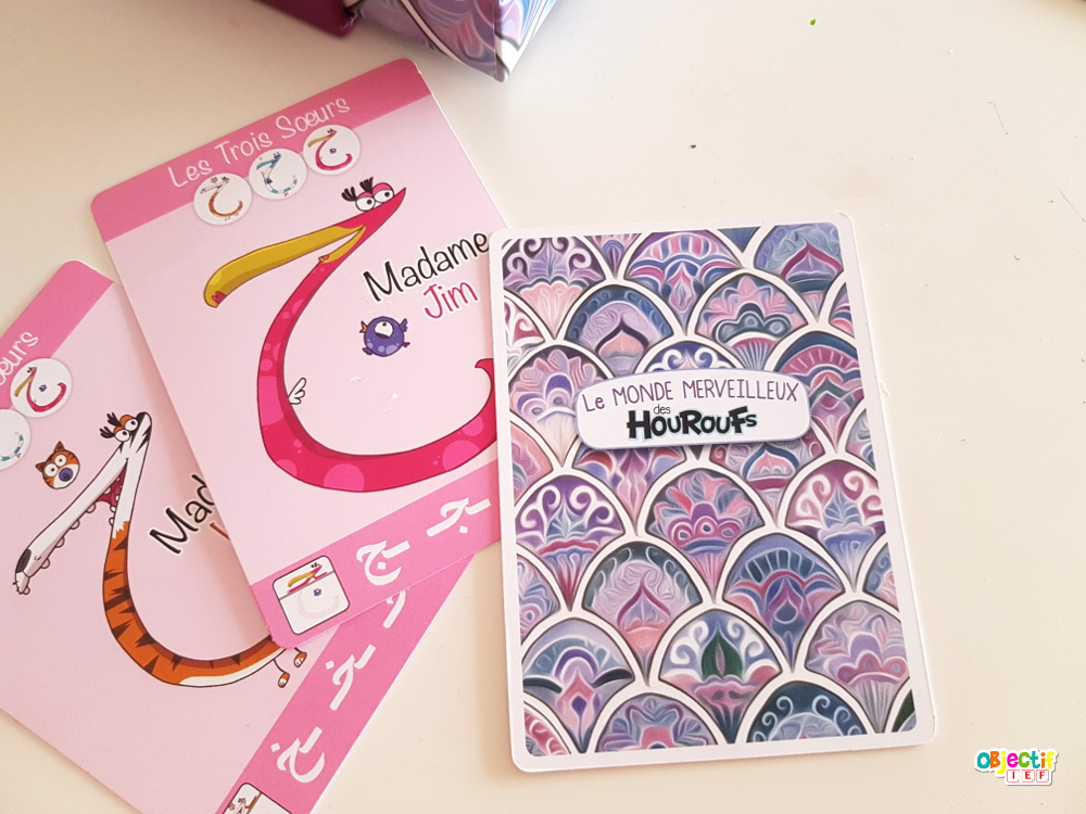 le jeu de 7 familles le monde merveilleux des houroufs cartes, arabe langue apprendre objectif ief