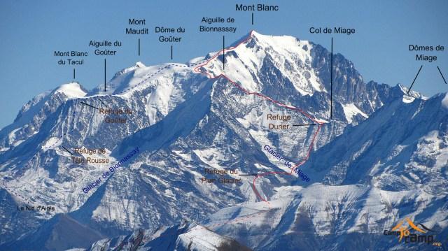 Traversée de Bionnassay par le refuge du Plan Glacier