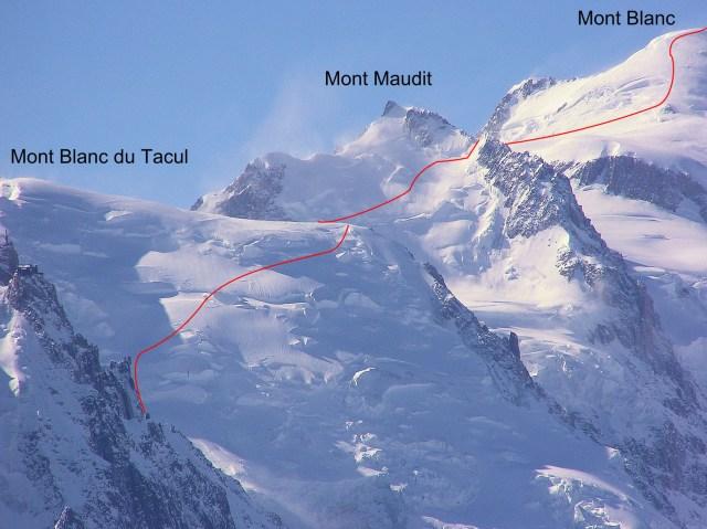 Itinéraire des 3 Monts : Mont Blanc du Tacul, Mont Maudit et Mont Blanc