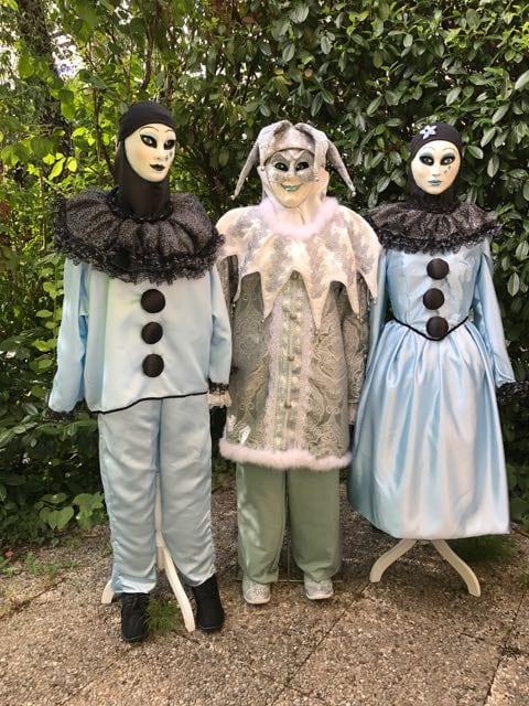 Pierrot, le Jocker et Colombine librement réinterprêtés spécialement pur les Folies vénitiennes
