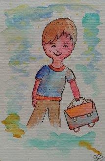 dessin écolier aquarelle