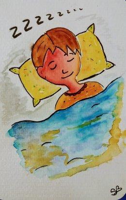 enfant qui dort aquarelle