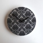 black damask luxe clock