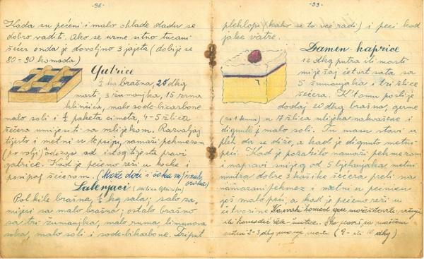 Detalj iz bilježnice Mire Matić iz 1940.