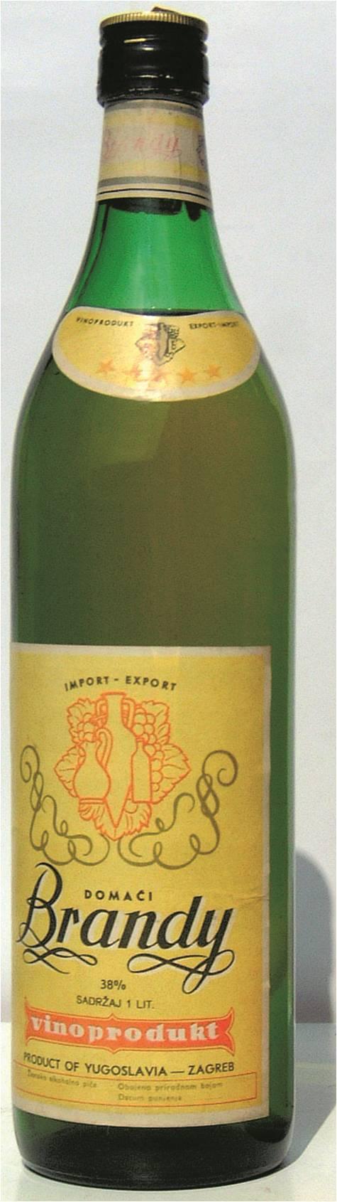 Vinoproduktov Brandy domaći oko 1970. (Fotografija Badel 1862)