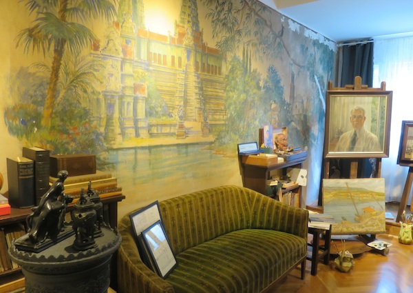 Zid koji je Branko Šenoa slikao za nećaka Zdenka 1934., slikarovi slikarski predmeti i slike (Fotografija Božica Brkan / Oblizeki)