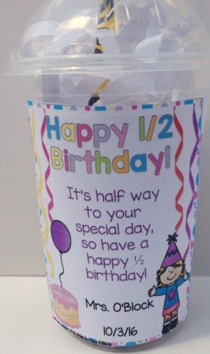 student half birthday gift tags