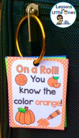 colors brag tag on binder ring