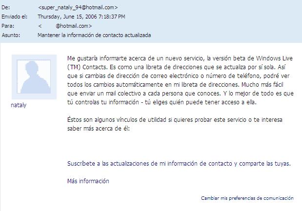 Captura del mensaje publicitario de Windows Live Beta