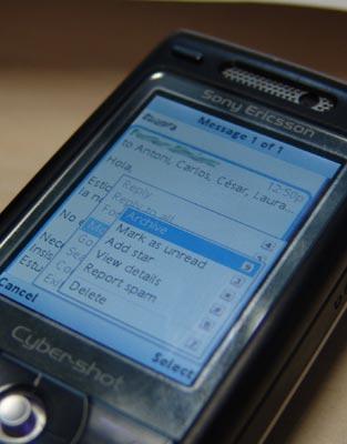 Mi K800 corriendo la aplicación de GMail
