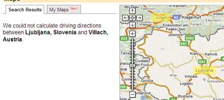 Google Maps no encuentra ruta entre Villach, Austria y Liubliana, en Eslovenia