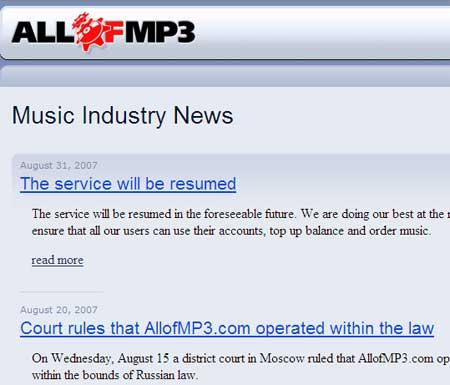 La página de ALLOFMP3 anuncia su regreso