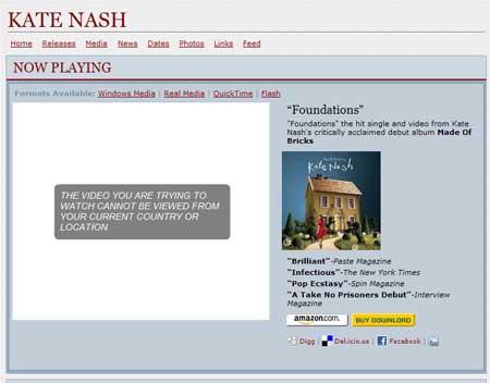 La web de la discográfica Geffen me dice que no puede enseñarme el último videoclip de Kate Nash porque estoy en el país equivocado