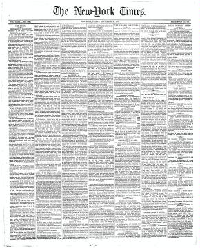 Primera página del Times del 19 de septiembre de 1873
