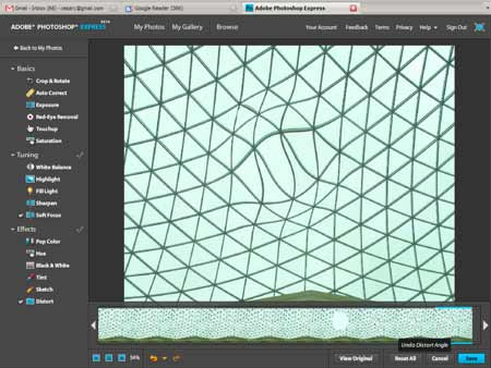 Captura de pantalla de la interfaz de Photoshop Express