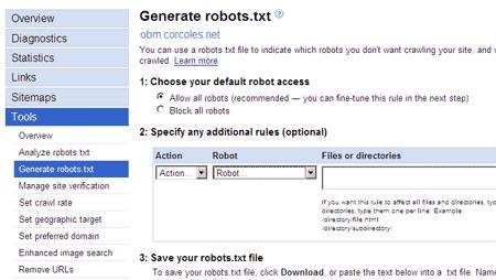 Captura de pantalla del generador de robots.txt de Google