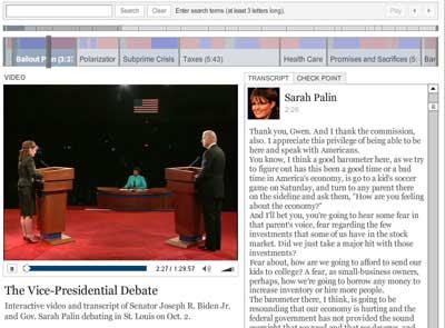 Captura web de la aplicación web para la transcripción del debate de los candidatos a la vicepresidencia USA en el New York Times