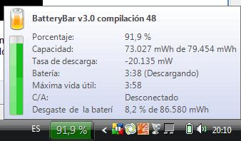 Captura de pantalla de BatteryBar. Además de la información habitual, da detalles como el desgaste de la batería