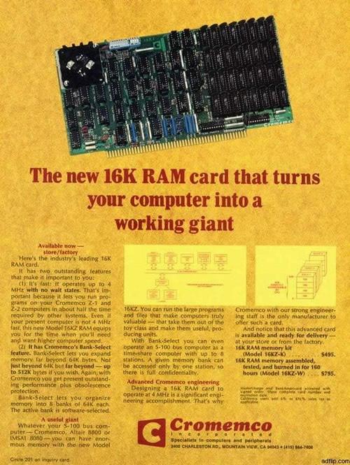 Anuncio de una tarjeta de expansión de memoria de 16 kilobytes