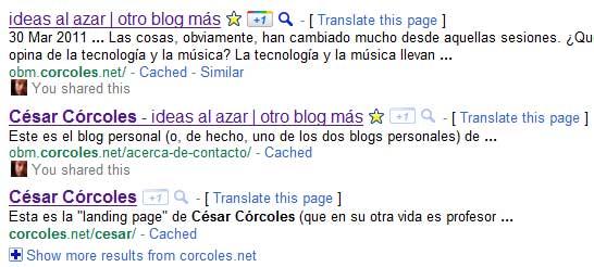 Captura de pantalla que muestra cómo queda el botón '+1' en un resuyltado de búsqueda. En este caso, los resultados son este blog y páginas asociadas