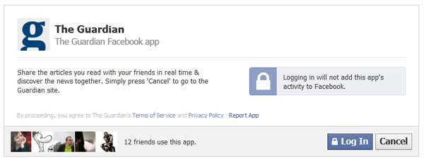Captura de pantalla de la app del Guardian en Facebook, que exige hacer log in para seguir