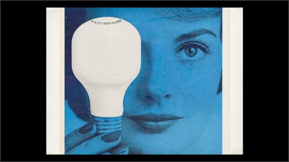 Foto de un anuncio antiguo de bombillas
