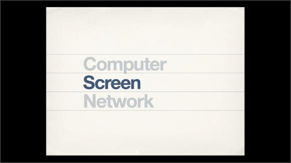 Se ven tres palabras: ordenador, pantalla, red. Ordenador y pantalla aparecen en un color difuminado