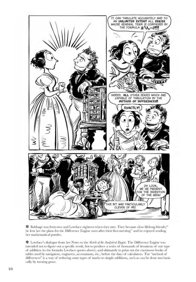 Una de las páginas del libro (en inglés) Las emocionantes aventuras de Lovelace y Babbage