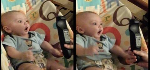 Bebê fica doido quando vê um controle remoto