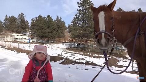 Emma e seu cavalo Canela