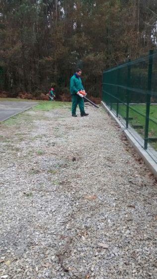 Limpeza follas con soplador