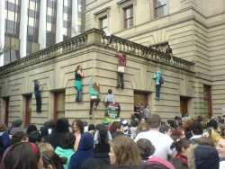 Hgh School students climb the walls at Portland City Hall