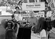 Project YANO at work . . . A news conference annoucing a new Latino counter-recruitment campaign organized jointly by Project YANO and Guerrero Azteca Project for Peace