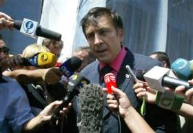 Georgian President Mikhail Saakashvili speaks to the media in Tbilisi, Georgia, on Wednesday, Aug.13. (Shakh Aivazov / AP)