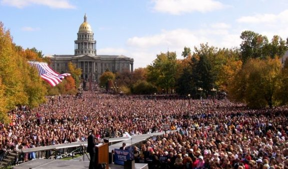 More than 100,000 gathered in Denver, October 26, 2008