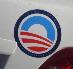 Obama decal on car, Long Branch Ave, Ocean Beach October 2008 (Patty Jones)