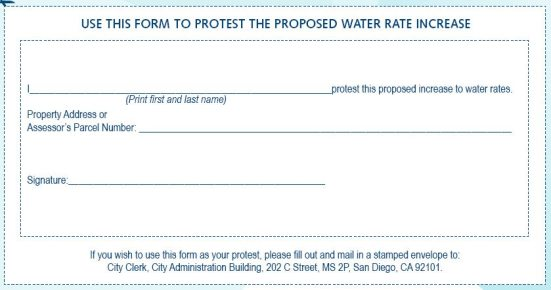 Click on the for to view a larger image that you can print out and mail to the City of San Diego to protest the water rate increase.