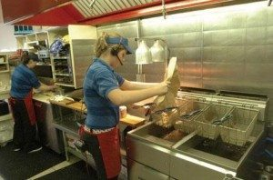 teen works fast food