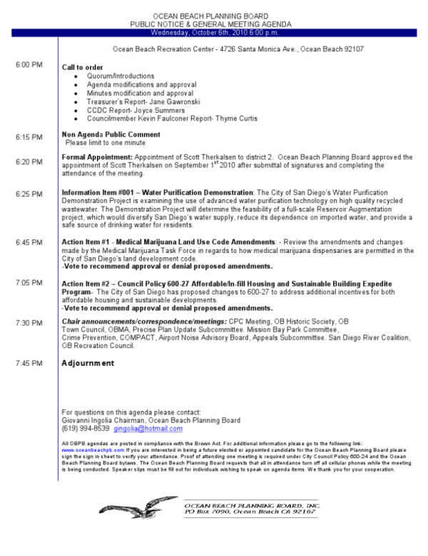 OB Plan Bd agenda 10-6-10