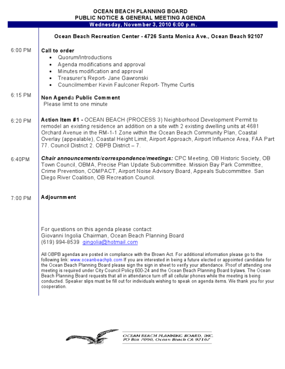 OB Plan Bd agenda 11-03-10