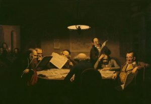 """Johann Peter Hasenclever: """"Planning Board hard at work"""""""