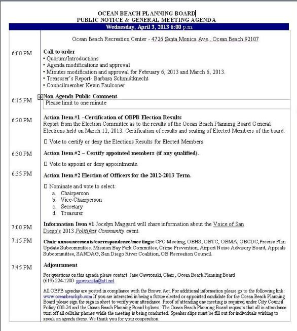 OB Plan Bd Agenda 04-03-13