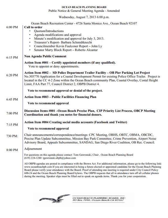 OB Plan Bd Agenda 8-07-13