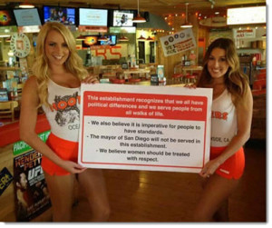 Filner Hooter girls n sign