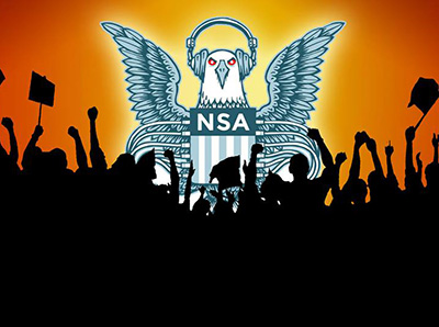 NSA bird n protesters
