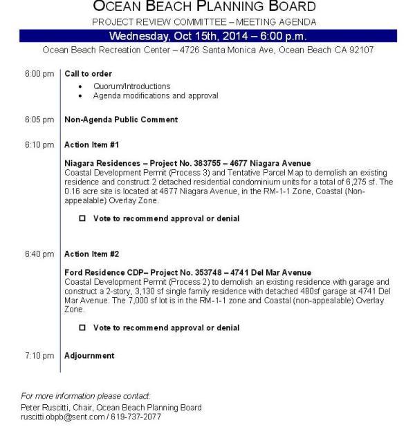 OB Plan Bd Proj Rev Agenda 10-15-14