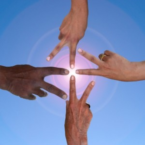 peace fingers circle