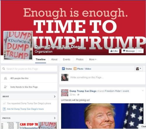 Screenshot of DumpTrump Facebook page