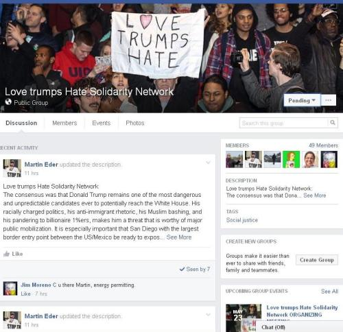 Screenshot of Love Trumps Hate Solidarity Network Facebook page
