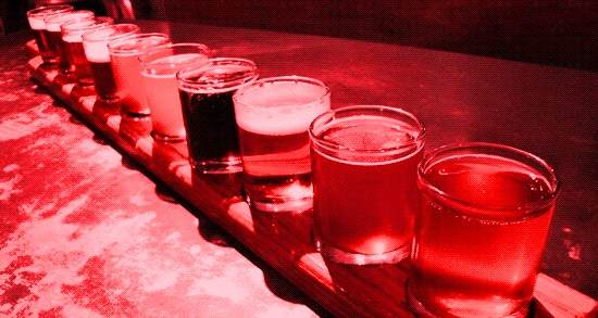 beer glasses red